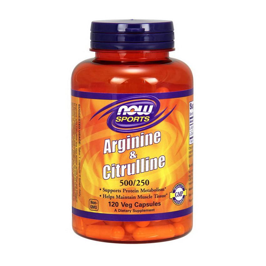 Aргинин NOW Arginine & Citrulline 500 mg/250 mg 120 caps