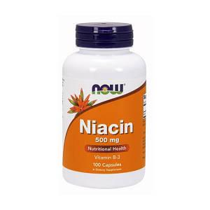 Витамин В3, Ниацин NOW Niacin 500 mg 100 caps