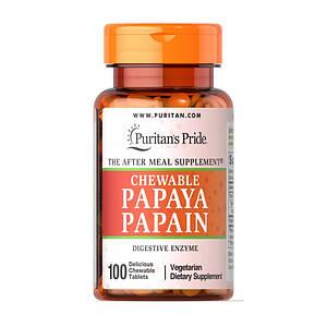 Пищеварительные ферменты папаин Puritan's Pride Chewable Papaya Papain 100 tabs