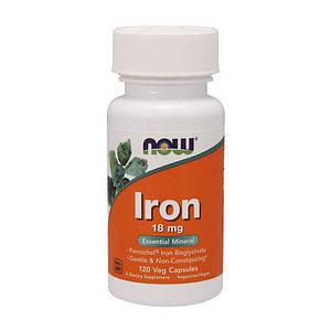 Железо NOW Iron 18 mg 120 veg caps