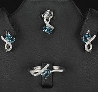 Лондон топазы. Классический кулон, серьги и кольцо, серебро925
