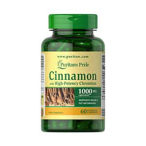 Корица Puritan's Pride Cinnamon with High-Potency Chromium 60 caps