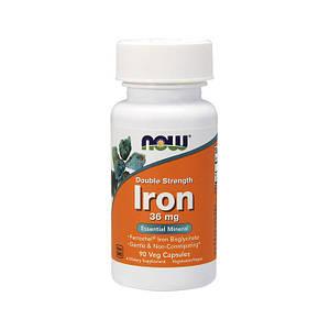 Железо NOW Iron 36 mg double strength 90 veg caps