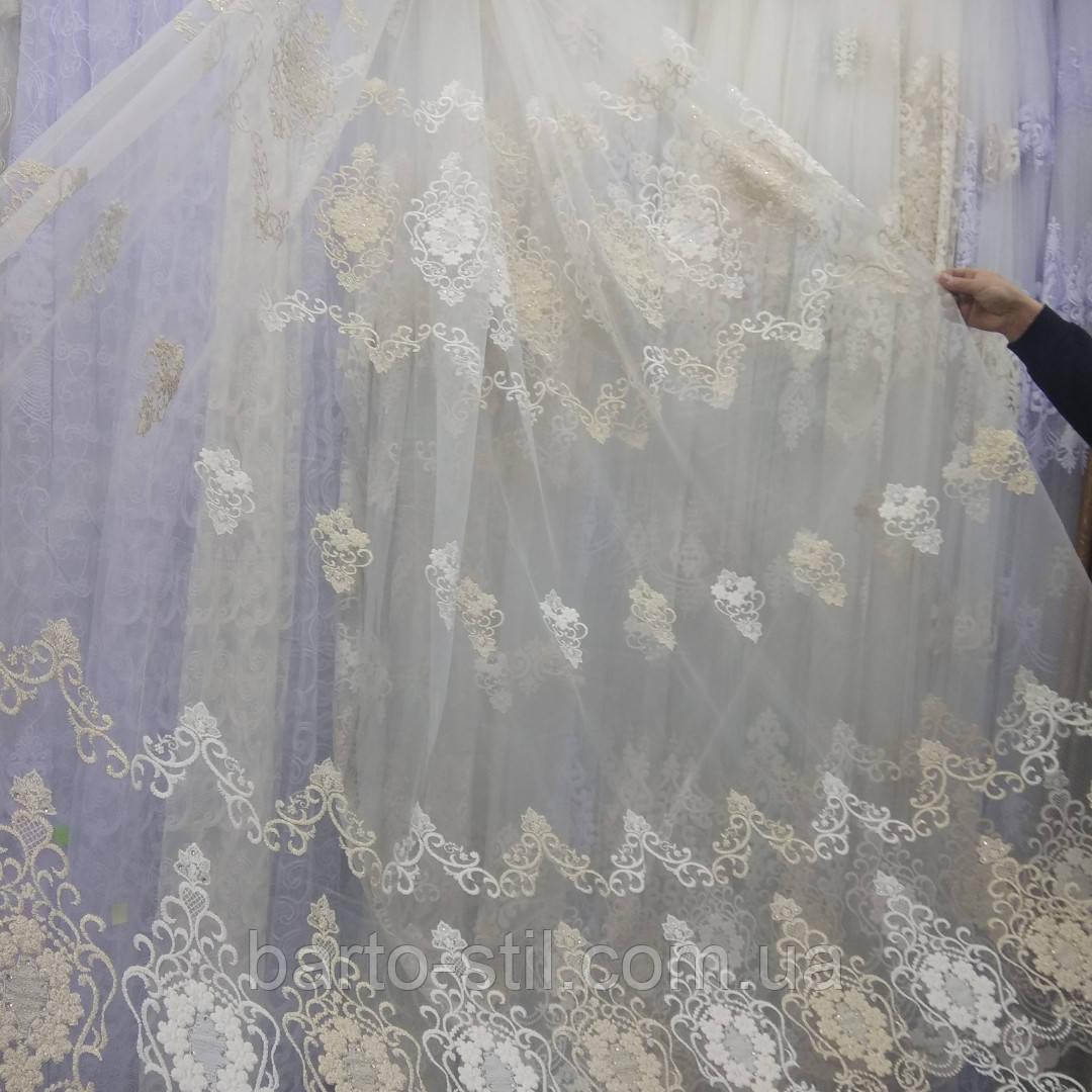 Тюль гардина на фатине с вышивкой и стразами Турция Цвет молочный с золотом