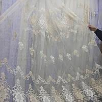 Тюль гардина на фатине с вышивкой и стразами Турция Цвет молочный с золотом, фото 1