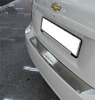 Накладка на бампер с загибом Chevrolet Lacetti SD 2004- нерж. NataNiko