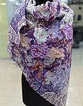 Платок хлопковый 10309-15, павлопосадский платок хлопковый (батистовый) с швом зиг-заг, фото 6