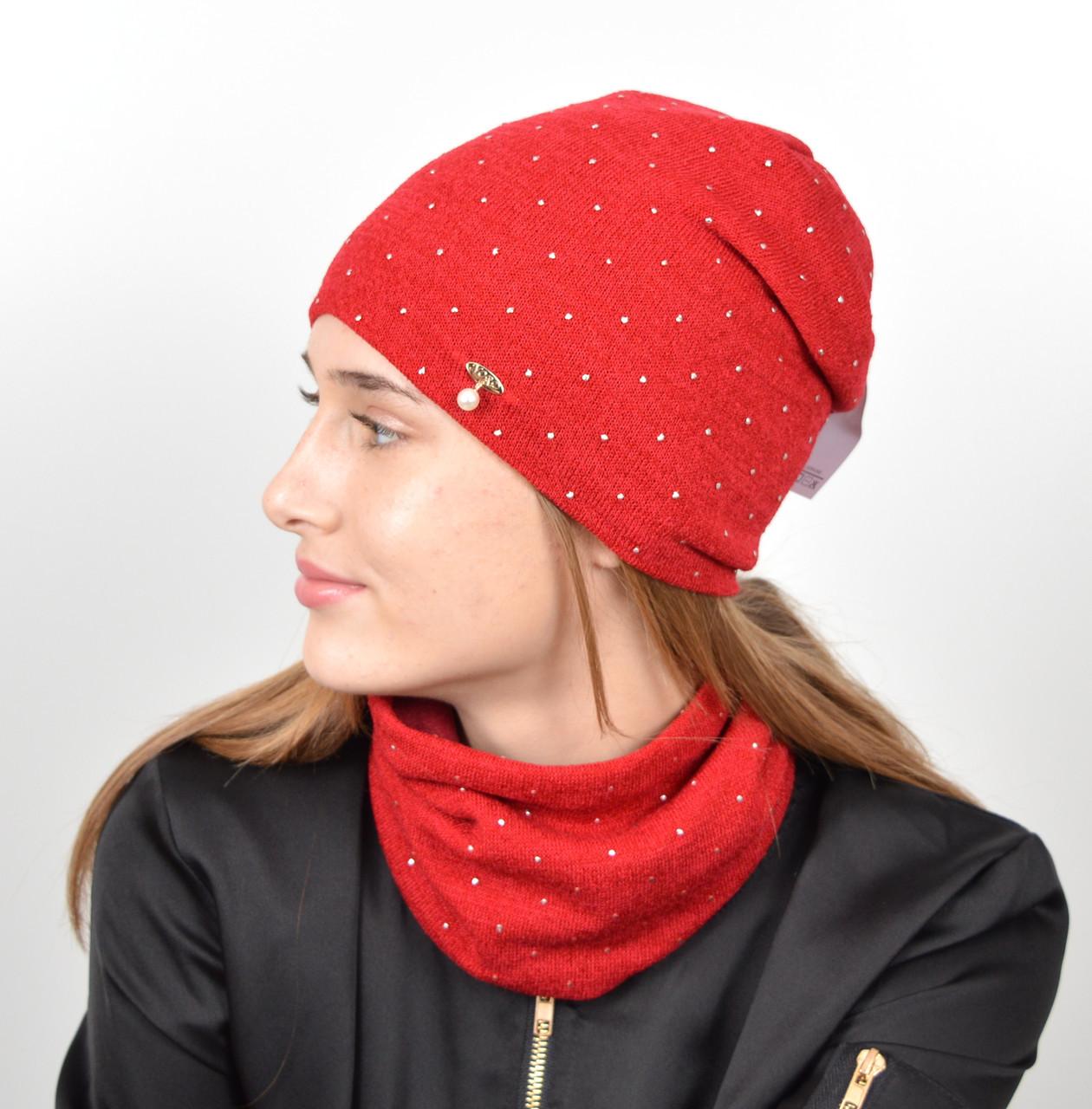 """Комплект """"Точки"""" хомут-шапка. Красный"""