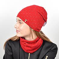 """Комплект """"Точки"""" хомут-шапка. Красный, фото 1"""