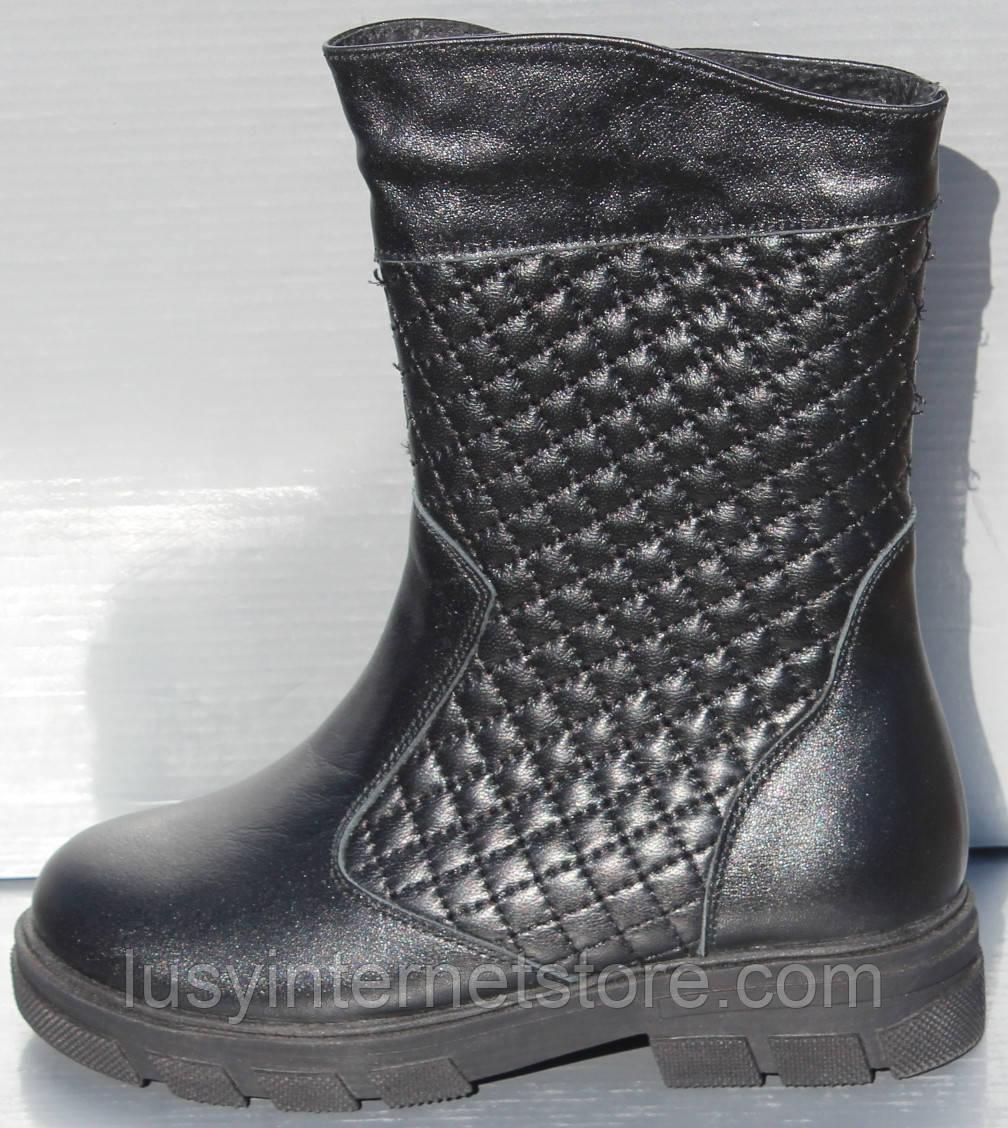 Сапоги черные зимние для девочки от производителя модель О-103