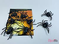 Черные жуткие декоративные пауки дополнения к декору на тематическую вечеринку Хеллоуин 12 шт в упаковке