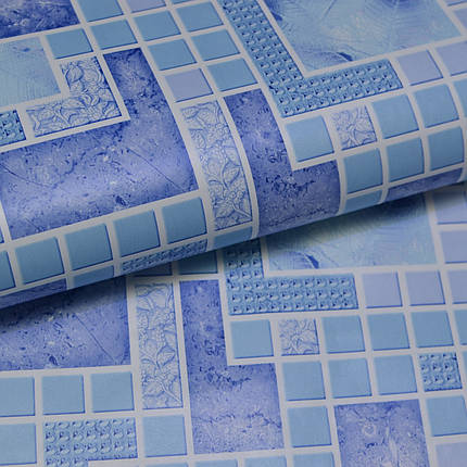 Обои для стен шпалери абстракция под плитку синие сині влагостойкие  0.53*10м, ограниченное количество, фото 2