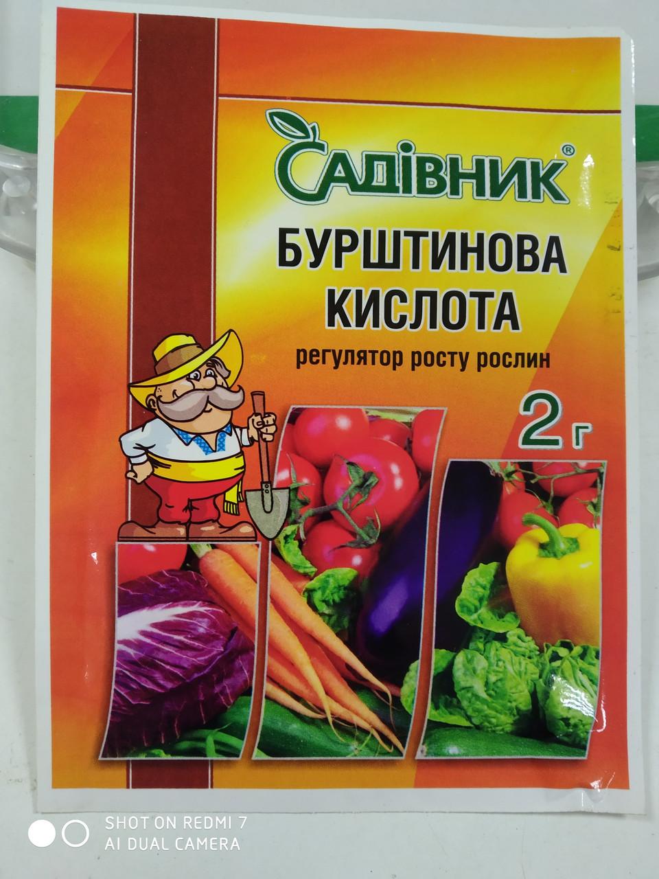 Стимулятор роста растений Янтарная кислота 2 грамма порошок Агрохимпак Украина