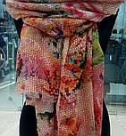 10494-3, павлопосадский шарф-палантин шерстяной (разреженная шерсть) с осыпкой, фото 3
