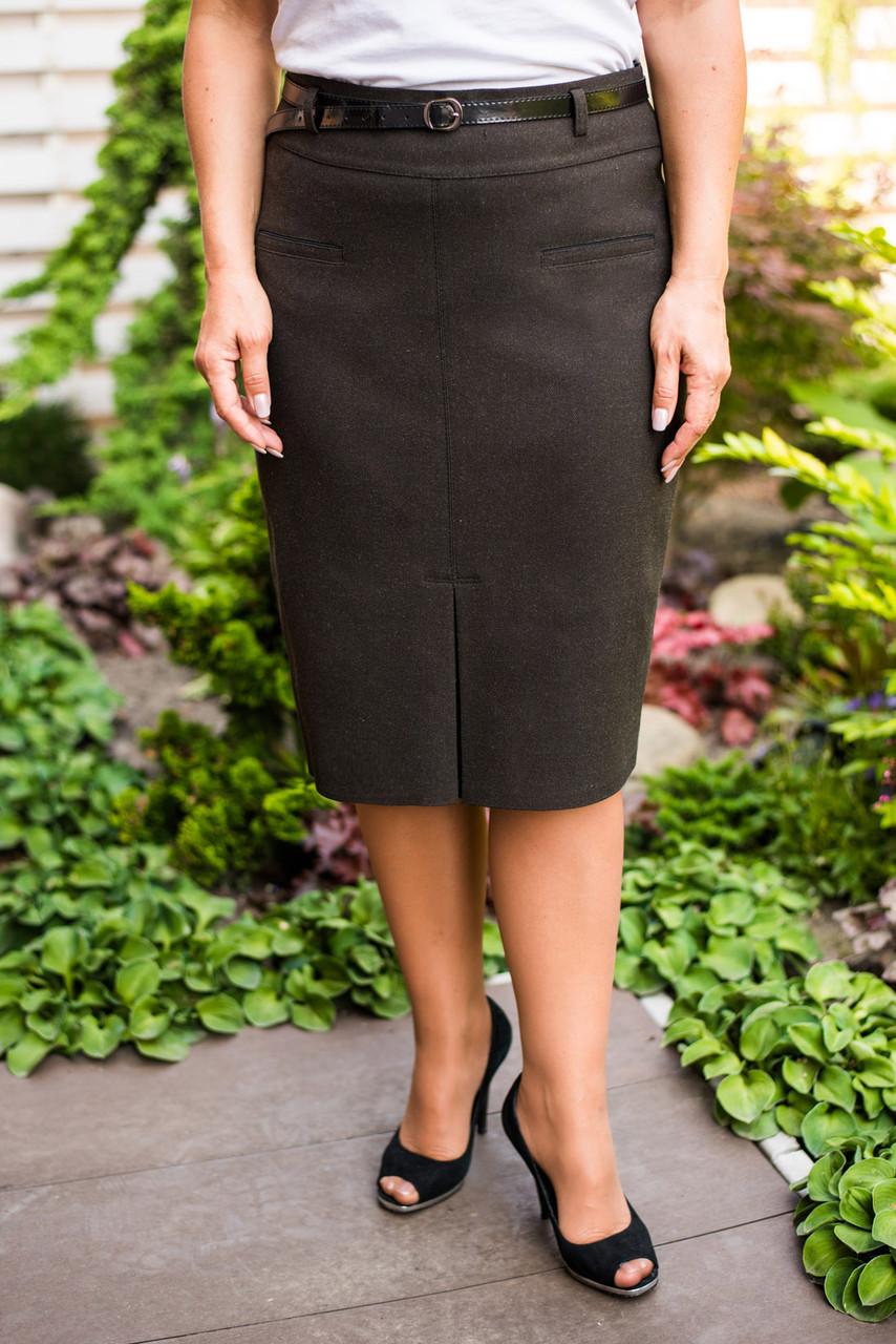 Теплая юбка прямого силуэта батал, имитация шлицы спереди р-р.58 Код 2225М