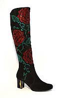 Сапоги женские замшевые зимние декорированы рисунком из цветов, фото 1