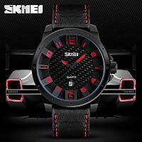 Классические мужские часы Skmei(Скмей)  9150 Вlack Red / Black White / Brown