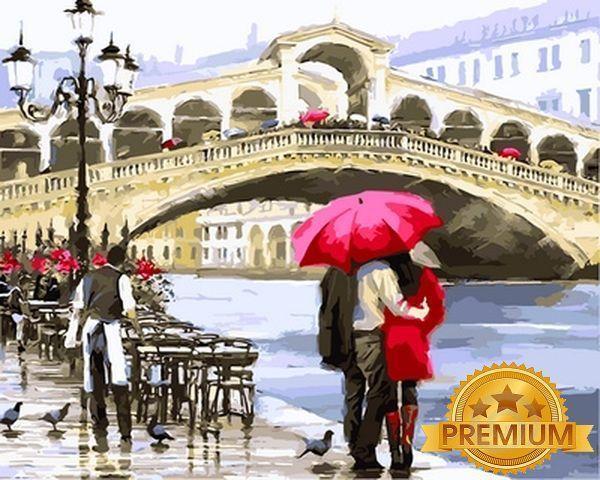 Картина по номерам 40×50 см. Babylon Premium (цветной холст + лак) Мост Риальто Венеция Италия Художник Ричард Макнейл (NB 769)