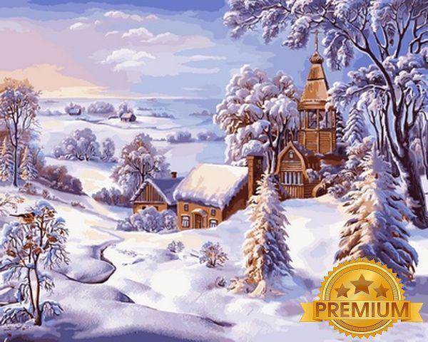 Картина за номерами 40×50 див. Babylon Premium (кольоровий полотно + лак) Зимовий пейзаж Художник Віктор