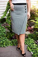 Оригинальная юбка прямого силуэта ассиметричного кроя в мелкую полоску р-р. 48,50 Код 2226М