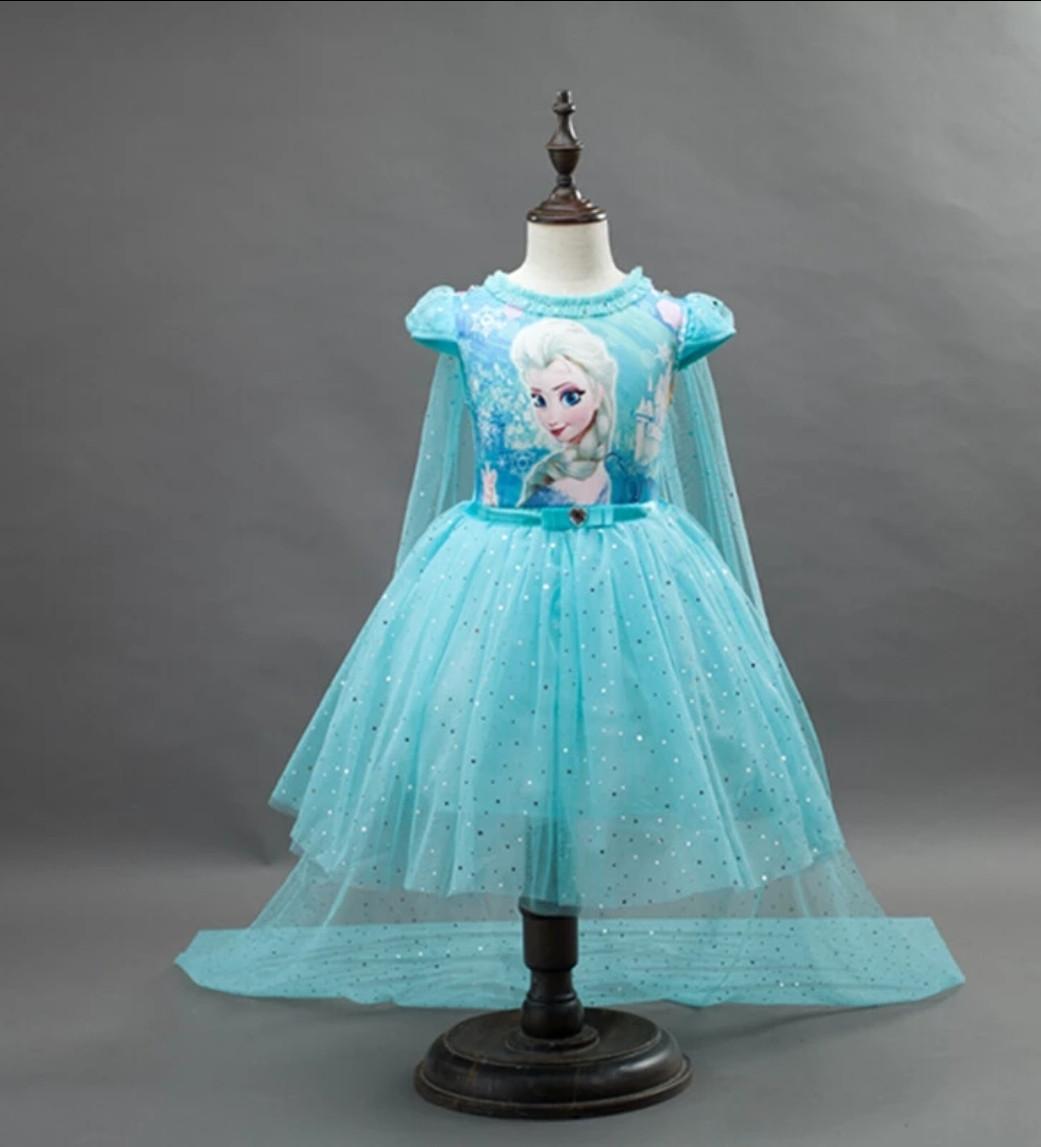 Платье Эльзы короткое голубое с длинным шлейфом на 2-10 лет 120