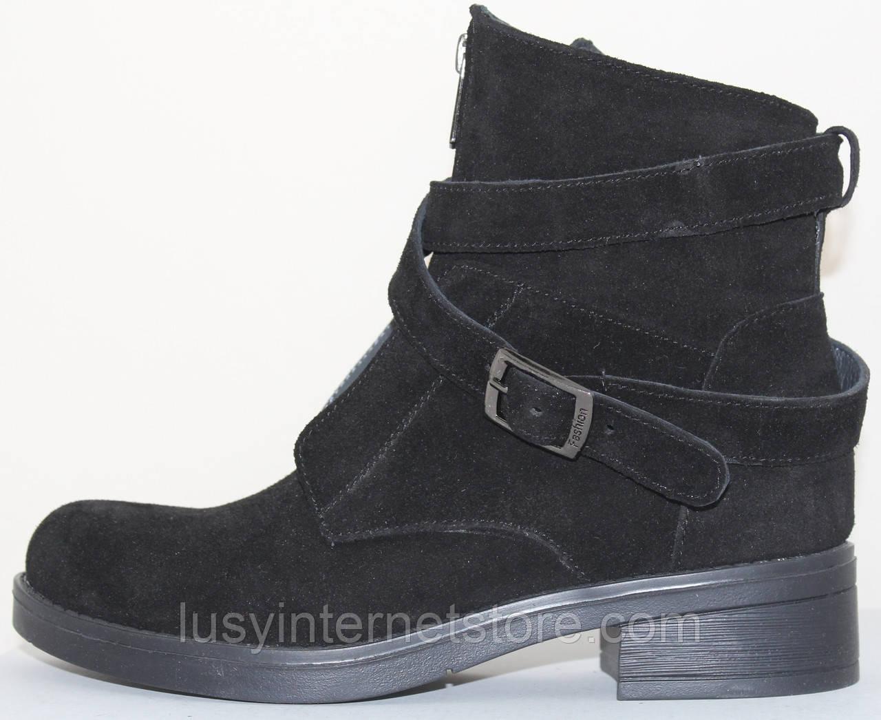 Ботинки черные женские замшевые демисезонные на низком каблуке от производителя модель СВ3508