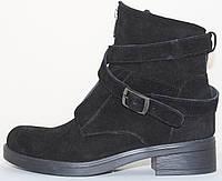 Ботинки черные женские замшевые демисезонные на низком каблуке от производителя модель СВ3508, фото 1