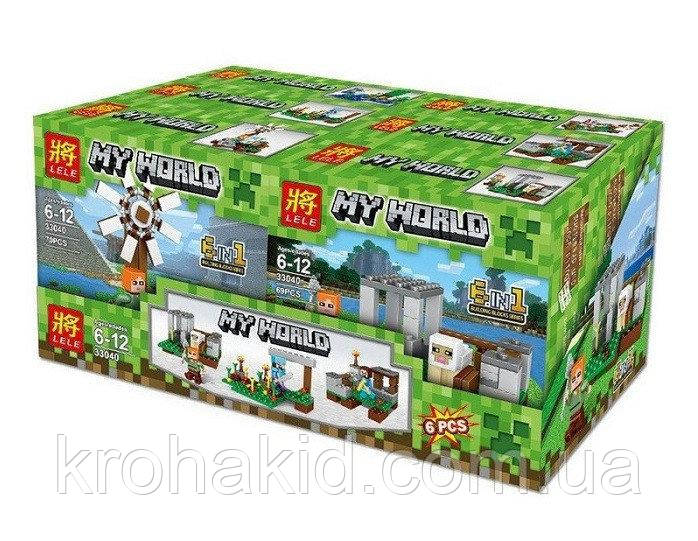 "Конструктор для мальчиков Lele 33040 ""My World"" (Аналог LEGO Minecraft), 390 деталей, цена за 1 шт"