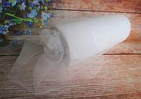 Фатин-сетка, ширина 15 см, цвет БЕЛЫЙ