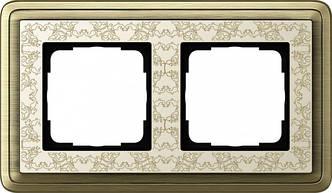 Gira 0212663 Рамка установочная 2 поста Gira ClassiX Art бронза кремовый