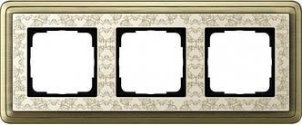 Gira 0213663 Рамка установочная 3 поста Gira ClassiX Art бронза кремовый