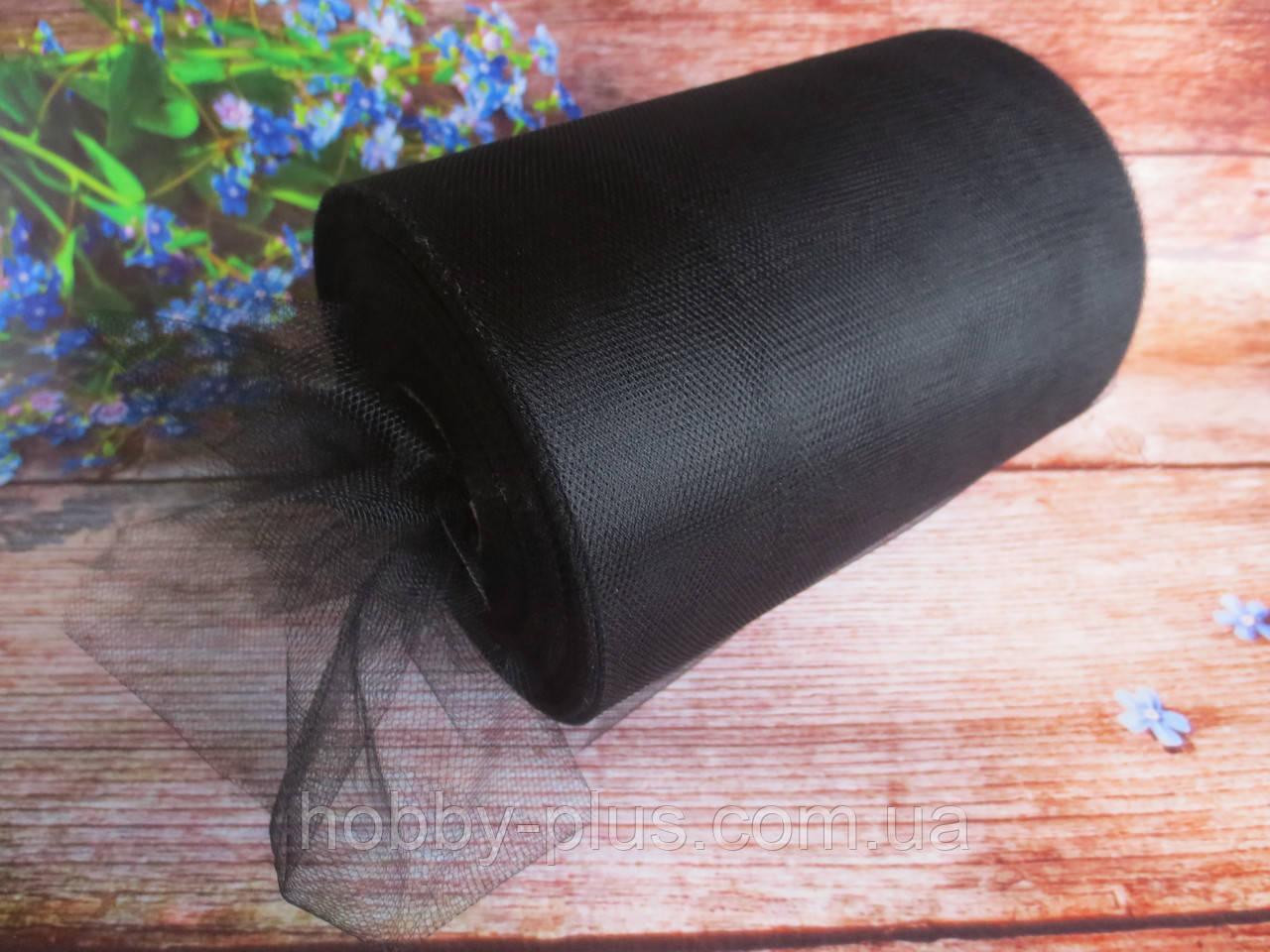 Фатин-сетка, ширина 15 см, цвет ЧЕРНЫЙ