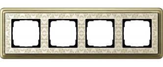 Gira 0214663 Рамка установочная 4 поста Gira ClassiX Art бронза кремовый
