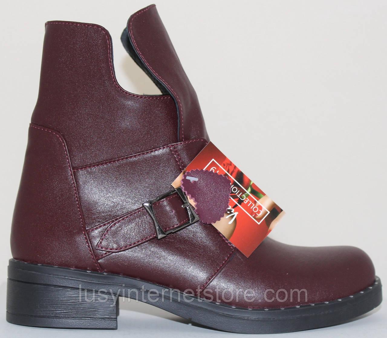 Ботинки женские кожаные демисезонные на низком каблуке от производителя модель СВ818