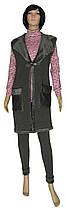 Жилетка женская теплая длинная на меху 19071 Lotti темно-серая