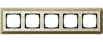 Gira 0215663 Рамка установочная 5 постов Gira ClassiX Art бронза кремовый