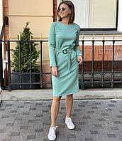 Классическое повседневное платье с поясом