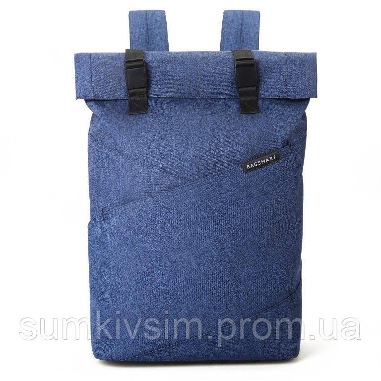 """Рюкзак для ноутбука 15.6"""" BAGSMART роллтоп городской синий"""