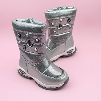 Дутики сапожки для девочки зимние серебро тм Bi&Ki размер 28,29, фото 2