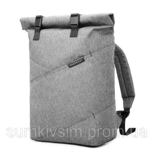 """Рюкзак  для ноутбука 15.6"""" BAGSMART роллтоп городской серый"""