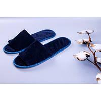 Тапочки велюровые для дома/отеля Luxyart, синий, открытый носок, в упаковке 20 шт (ZF-136)