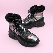 Зимние кожаные черные ботинки для девочки тм Bi&Ki размер 37,38,39