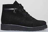 Ботинки черные женские замшевые демисезонные на низком ходу от производителя модель СВ892, фото 1