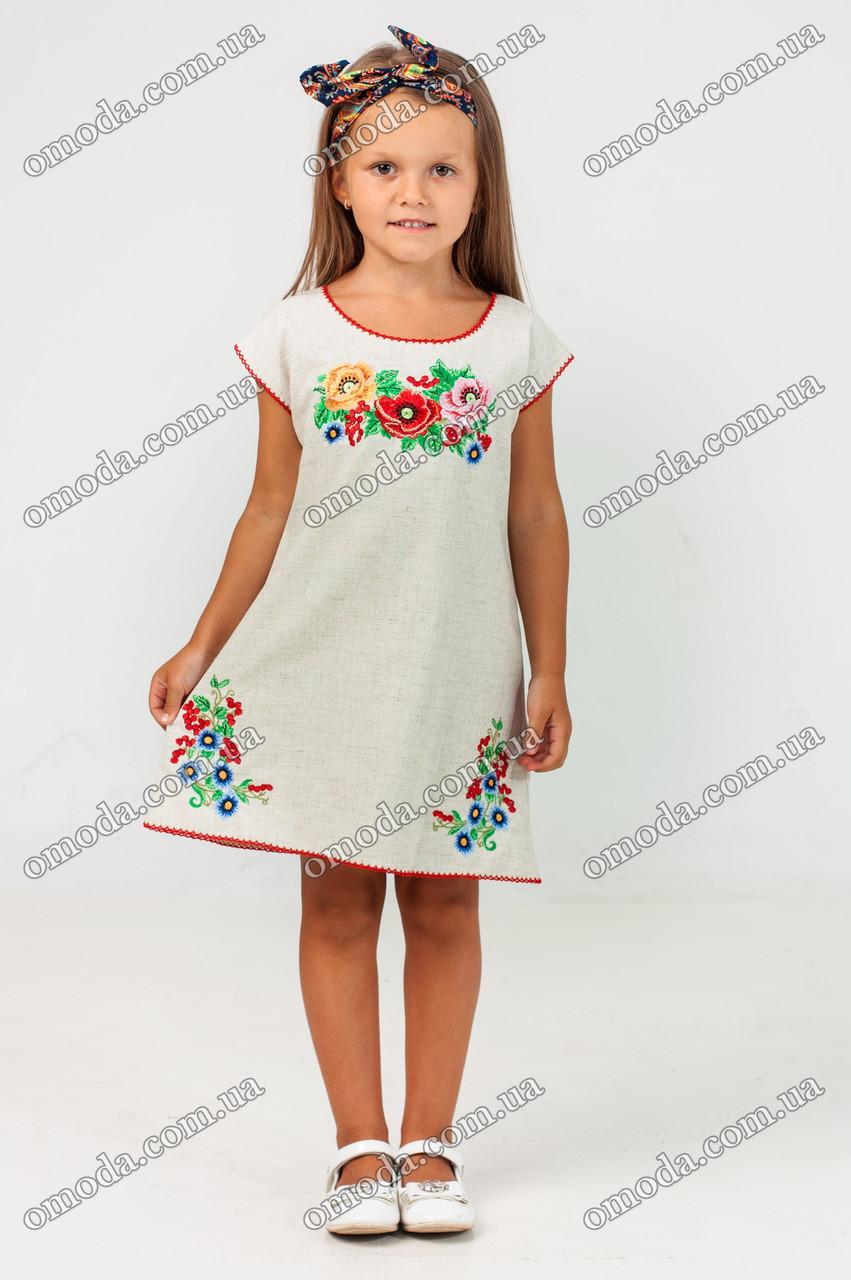 Платье - туника с цветочным орнаментом вышитое Дианочка лён