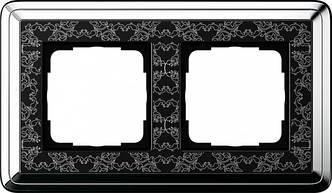 Gira 0212682 Рамка установочная 2 поста Gira ClassiX Art хром черный