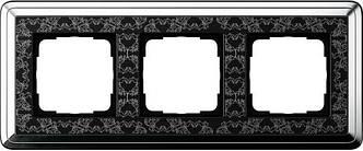 Gira 0213682 Рамка установочная 3 поста Gira ClassiX Art хром черный