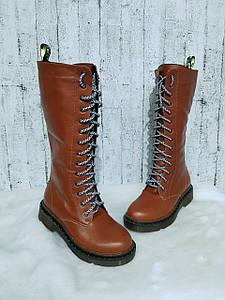 Высокие женские сапоги на шнуровке коричневого цвета 36-40 р