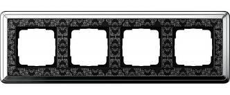 Gira 0214682 Рамка установочная 4 поста Gira ClassiX Art хром черный