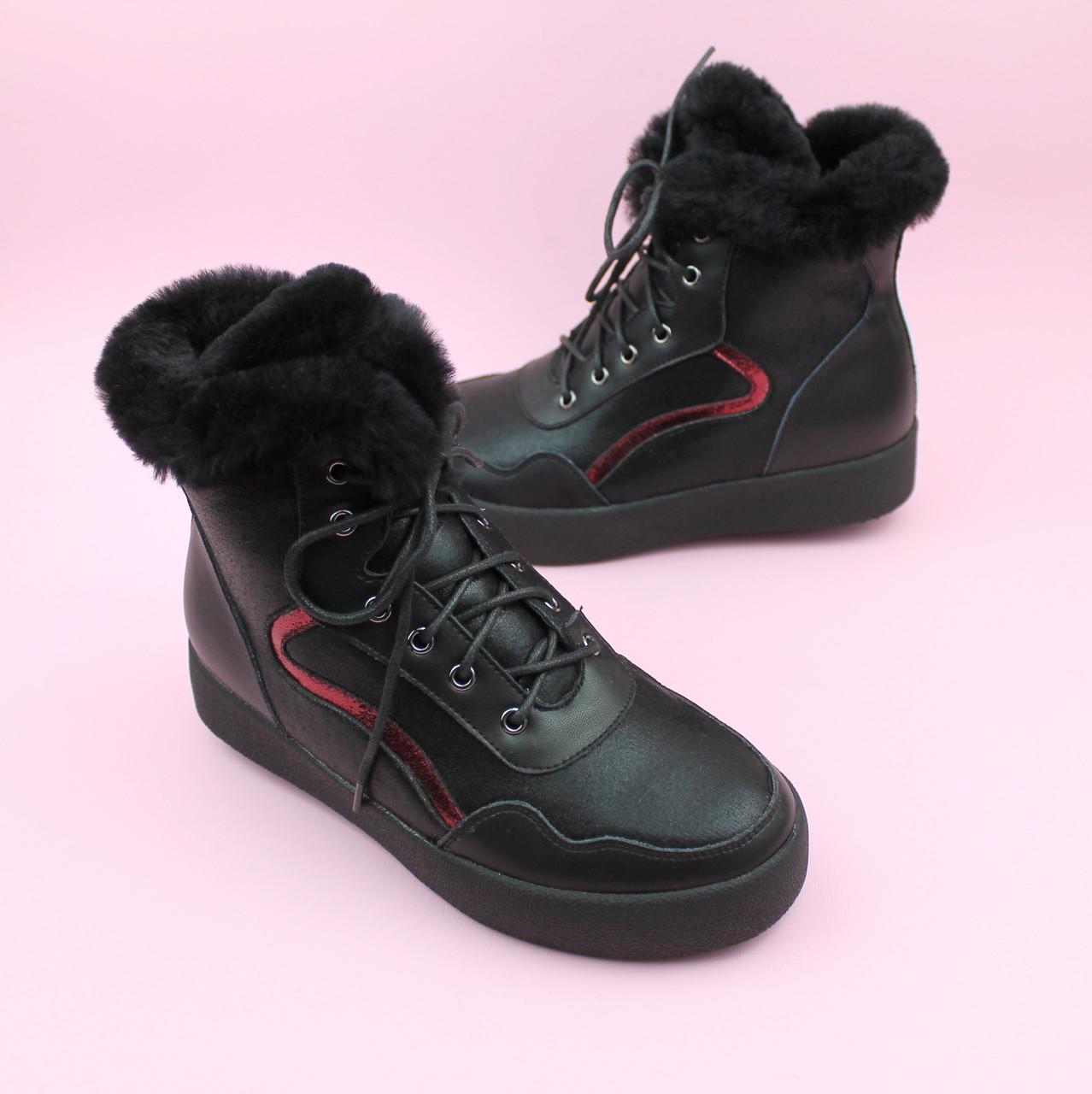 Зимние черные кожаные ботинки для девочки бренд Bi&Ki размер 35,37