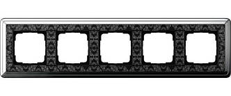 Gira 0215682 Рамка установочная 5 постов Gira ClassiX Art хром черный